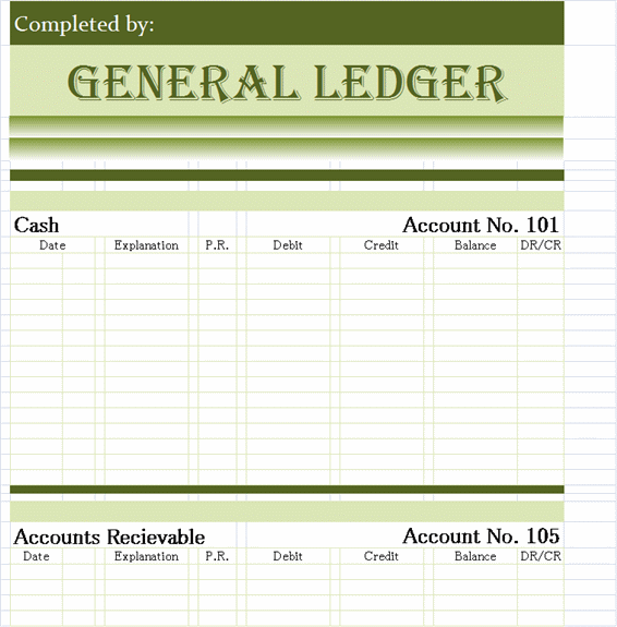 General Ledger Template  General Ledger Form