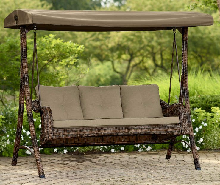 Palermo All Weather Wicker 3 Person Swing At Big Lots Patio