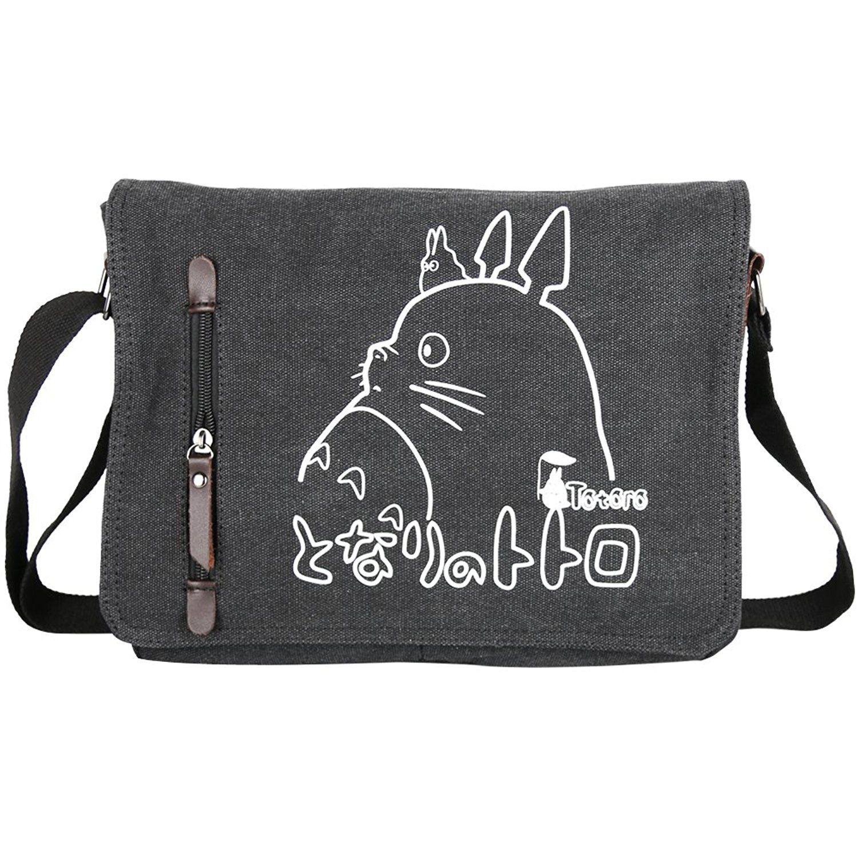 dcae002fa7 YewNeak My Neighbor Totoro Cute Canvas Shoulder Sling Bag Messenger (Dark  Grey)  Amazon.co.uk  Shoes   Bags
