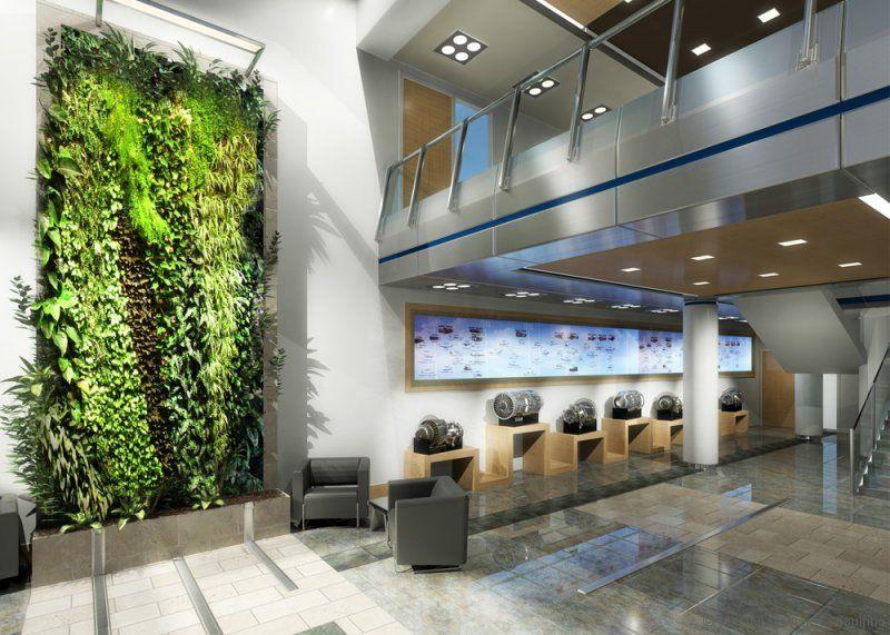 Office design hamilton sundstrand lobby interior green for Green office interior design