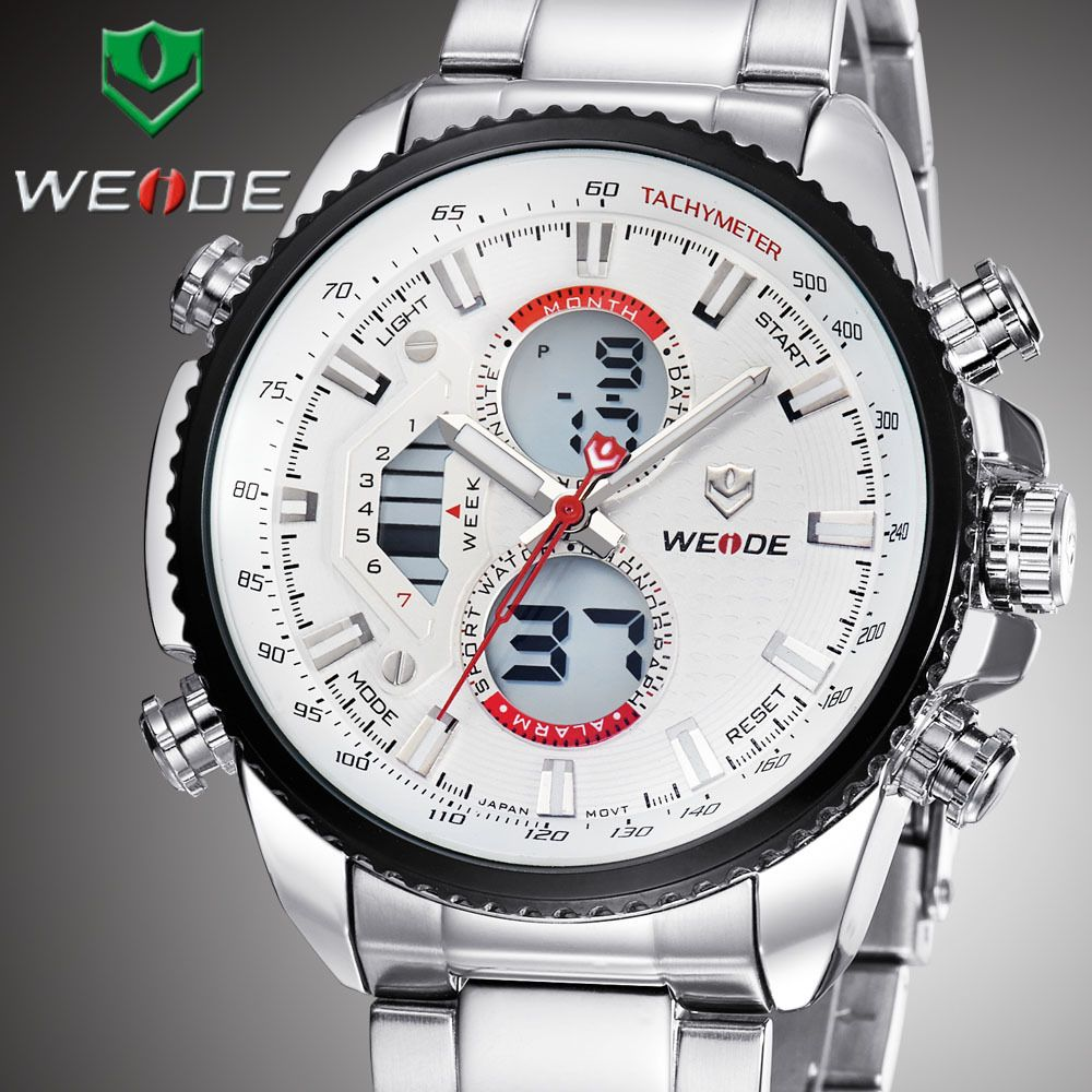 Find More Wristwatches Information about New 2014 Fashion WEIDE Men's Sports Watches Analog Digital LCD Display Full Steel Watch 30 Meters Waterproof,High Quality Wristwatches from WEIDE Official Flagship Store on Aliexpress.com