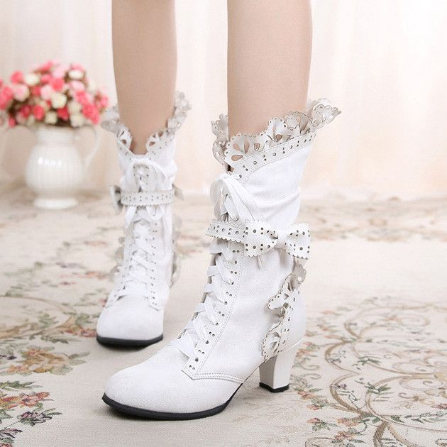e1022957072 Japanese Lolita Bow and Lace Small round Ribbon Boots Shoes SD01946 ...