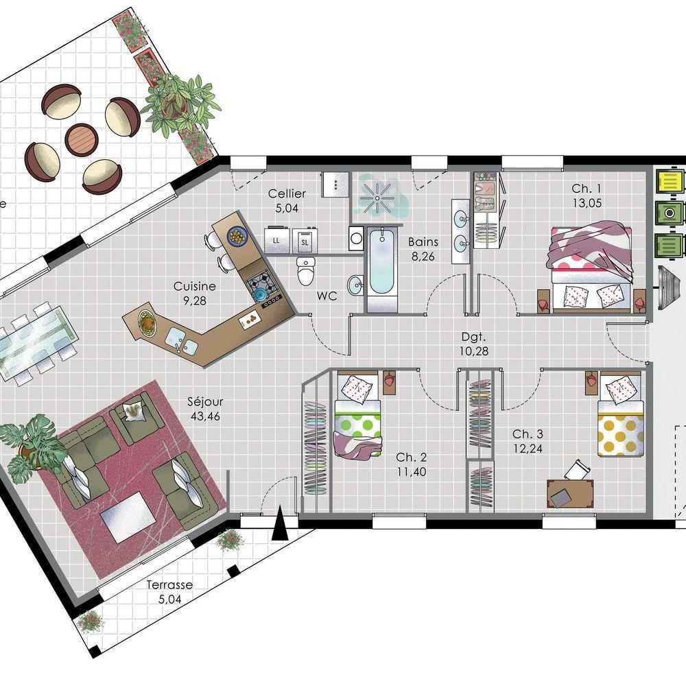 Maison de plain pied 7 en 2019 plan maison pinterest plan maison maison plain pied et maison - Construire sa maison plain pied ...