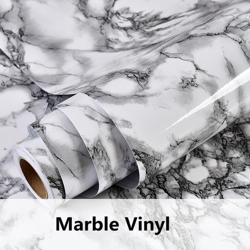 Gray Marble Waterproof Vinyl Self adhesive Wallpaper