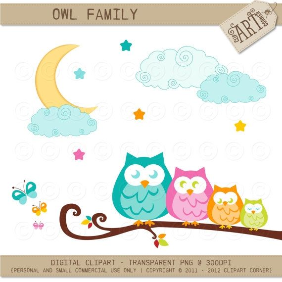 owl family on a branch luvly marketplace premium design rh pinterest com cute owl family clipart free cute owl family clipart free