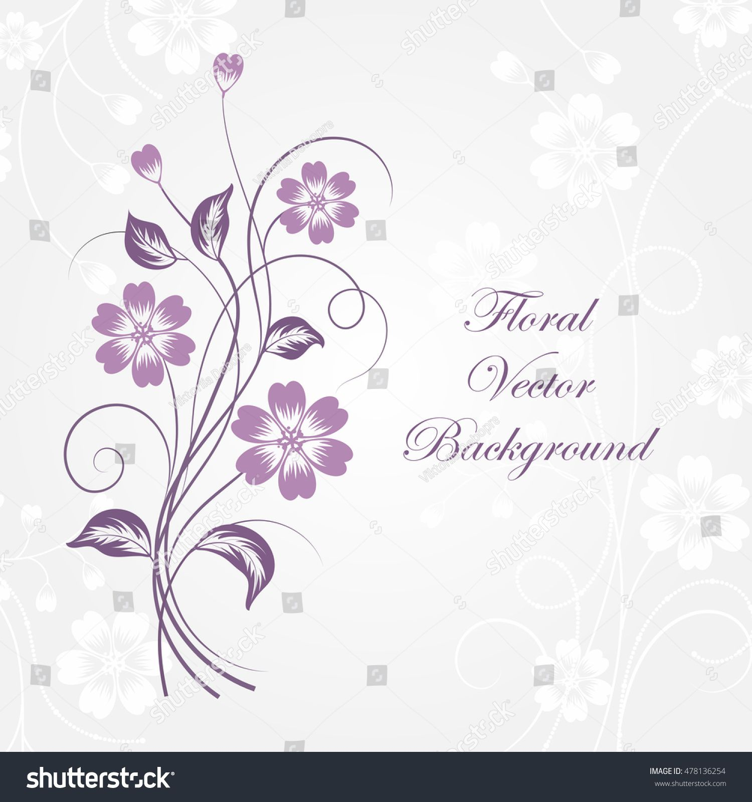 Simple Floral Background In Violet Colors With Place For Your Text