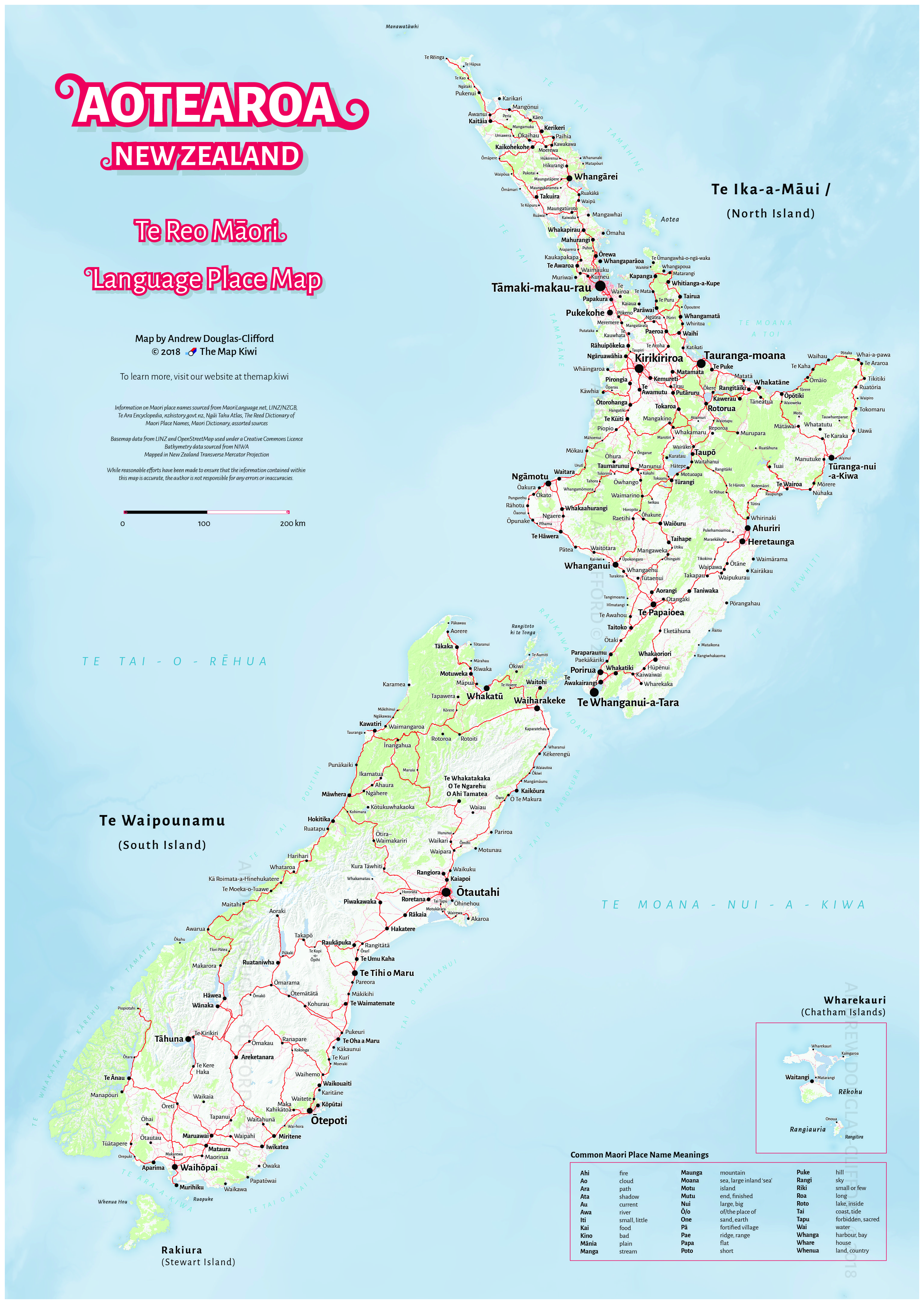 Te Reo Māori Map of Aotearoa/New Zealand | The old site we are