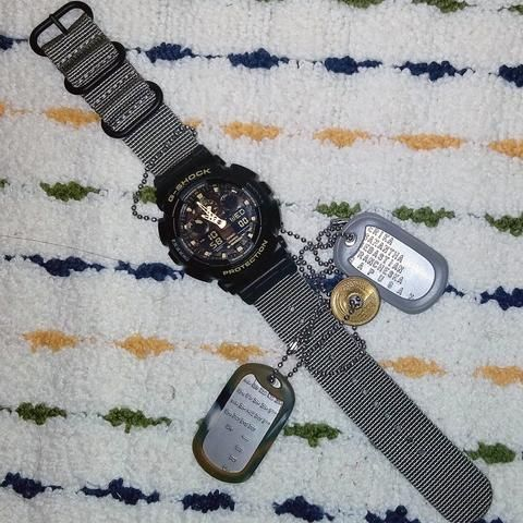 Casio G Shock Ga100 With Vario Ballistic Nato Strap And
