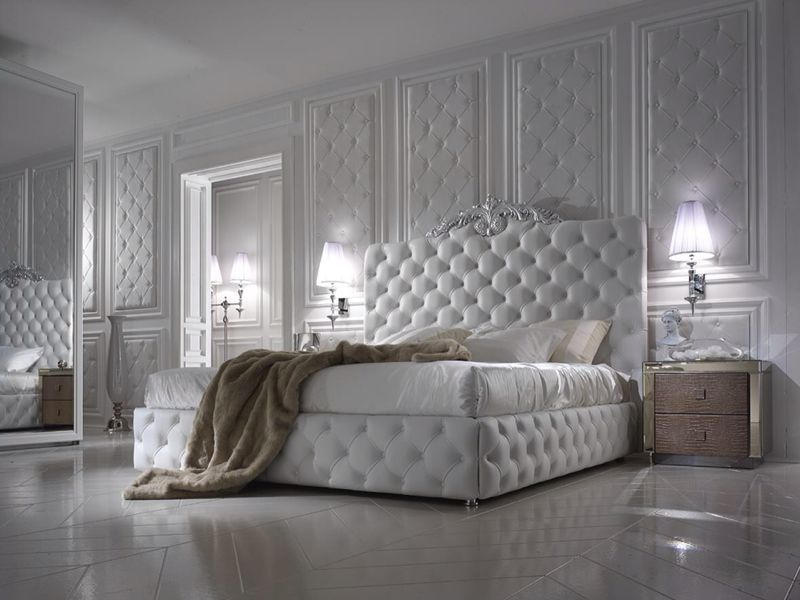 Exclusive Luxury Italian White Leather Bed