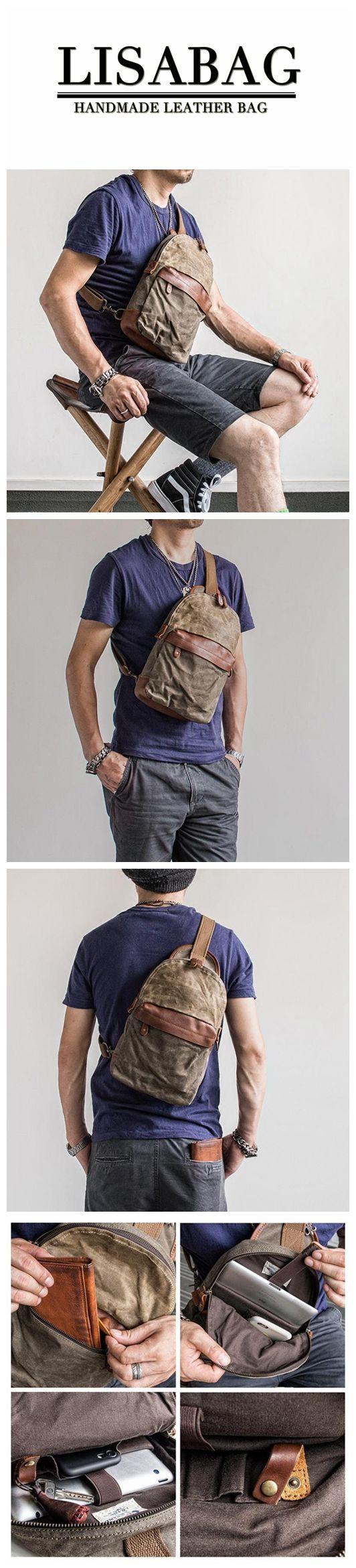 23f13e634f Handmade Waxed Canvas Chest Bag Sling Backpack Crossbody Bag Small Satchel  MBL18  messengerhandbags
