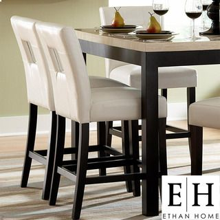 Amazing ETHAN HOME Mendoza White Keyhole Counter Chairs (Set Of 2) | Overstock.com Ideas