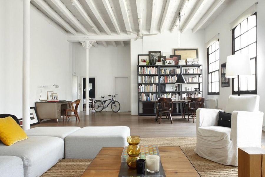 vigas blancas de madera estilo industrial moderno pintadas techo