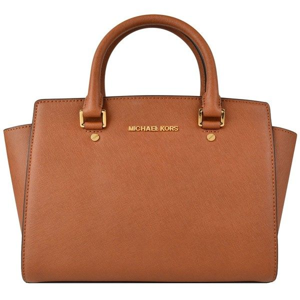 MICHAEL Michael Kors Selma Medium Satchel (8827110 BYR) ❤ liked on Polyvore featuring bags, handbags, luggage, logo bags, leather purse, genuine leather handbags, 100 leather handbags and genuine leather bag
