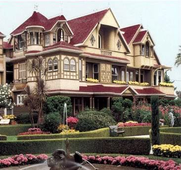 """San Jose, California based Winchester Mystery House considered the """"world's most haunted house."""" ------ This place is so much fun! There is an upstairs room where the floor is made entirely of trap doors! Also, doors that open up to a solid wall and stairs that lead up to the ceiling! Beautiful architecture and gardens too!"""