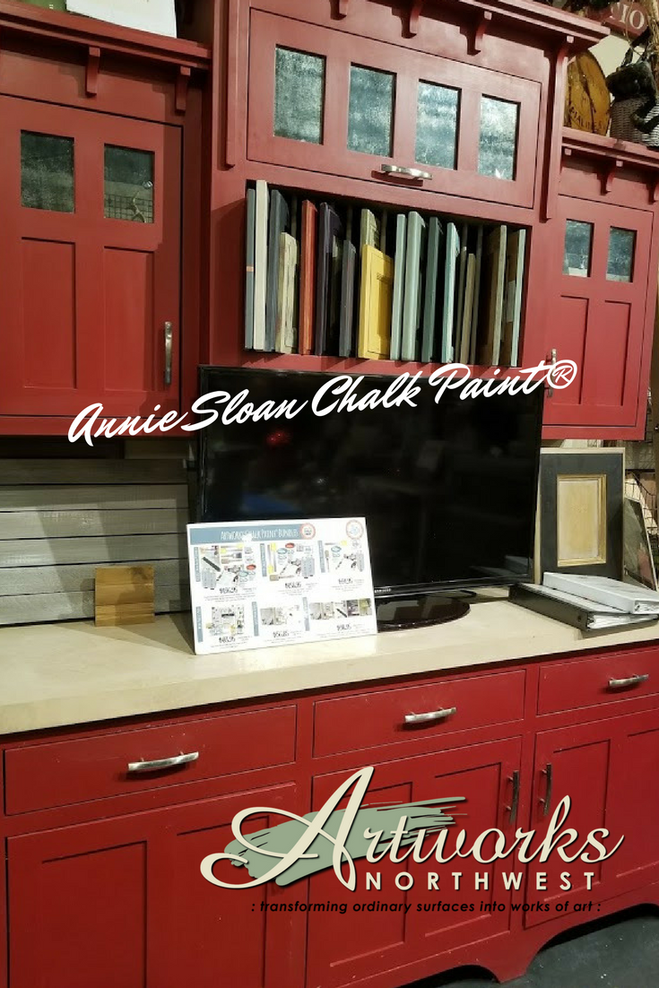 Custom Cabinetry And Counter Tops Created By Artworks Artisans Cabinets Painted In A 1 1 Mix Of Annie Sloan E Red Chalk Paint Custom Cabinetry Concrete Decor
