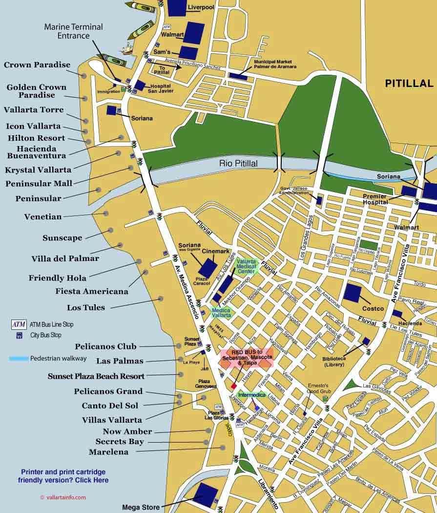 Map Of Puerto Vallarta's Hotel Zone.