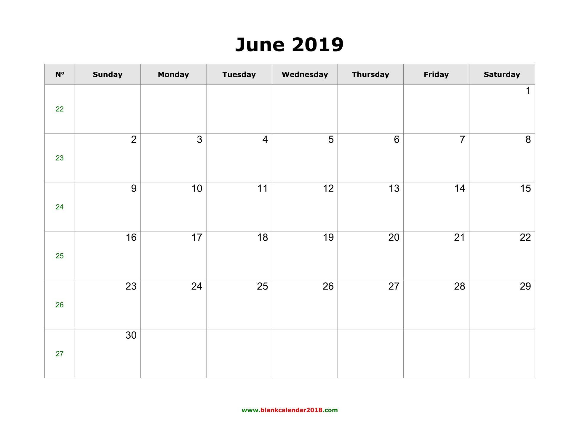 Editable June 2019 Calendar Word Template Portrait Landscape Blank