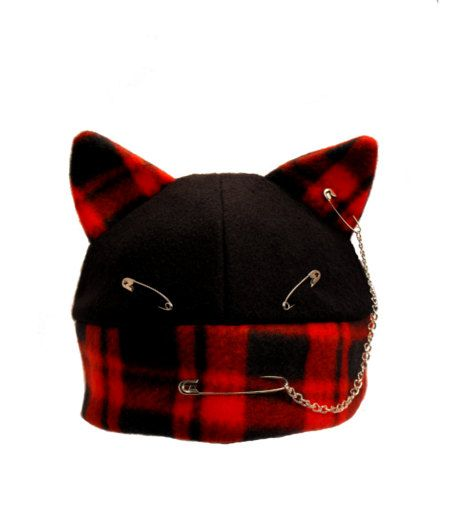 Angry Punk  Kitty  Fleece Hat Holiday Christmas by indiesommer2, $25.00
