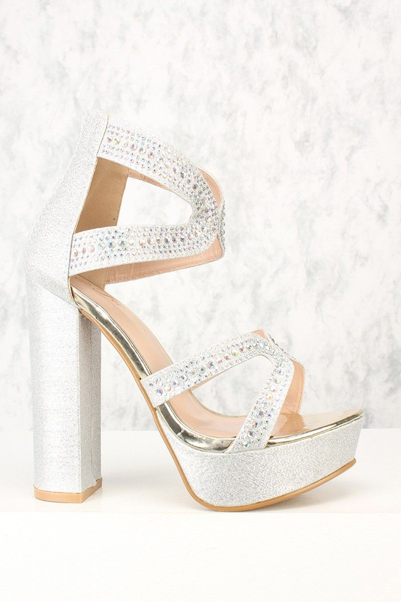 573d1d755b1 Sexy Silver Strappy Shimmer Rhinestone Platform High Heels