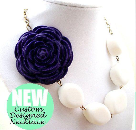 Statement NecklaceEggplant Purple Rose by WeddingBridalJewelry, $45.00