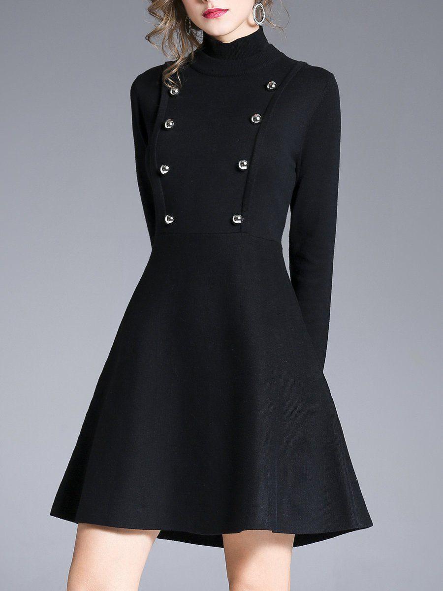 Black long sleeve buttoned mini dress mini dresses navy blue and