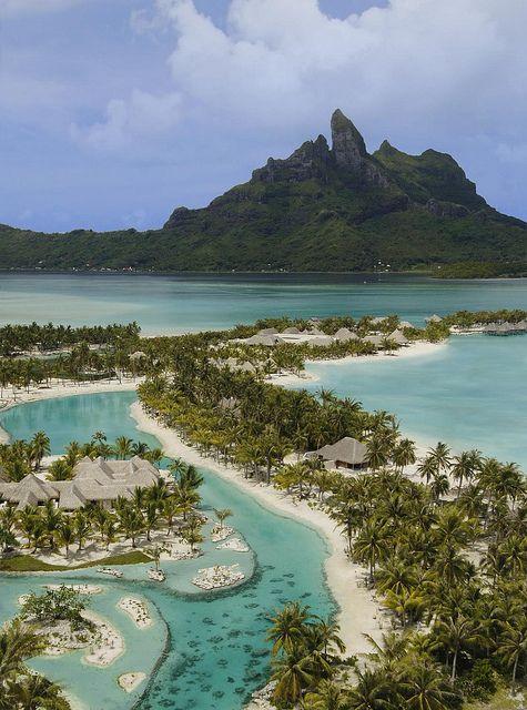 The St Regis Bora Bora Resort Resort Arieal With Spa And Private Lagoonarium By St Regis Hotels And Resorts Via Fli Places To Travel Bora Bora Resorts Travel