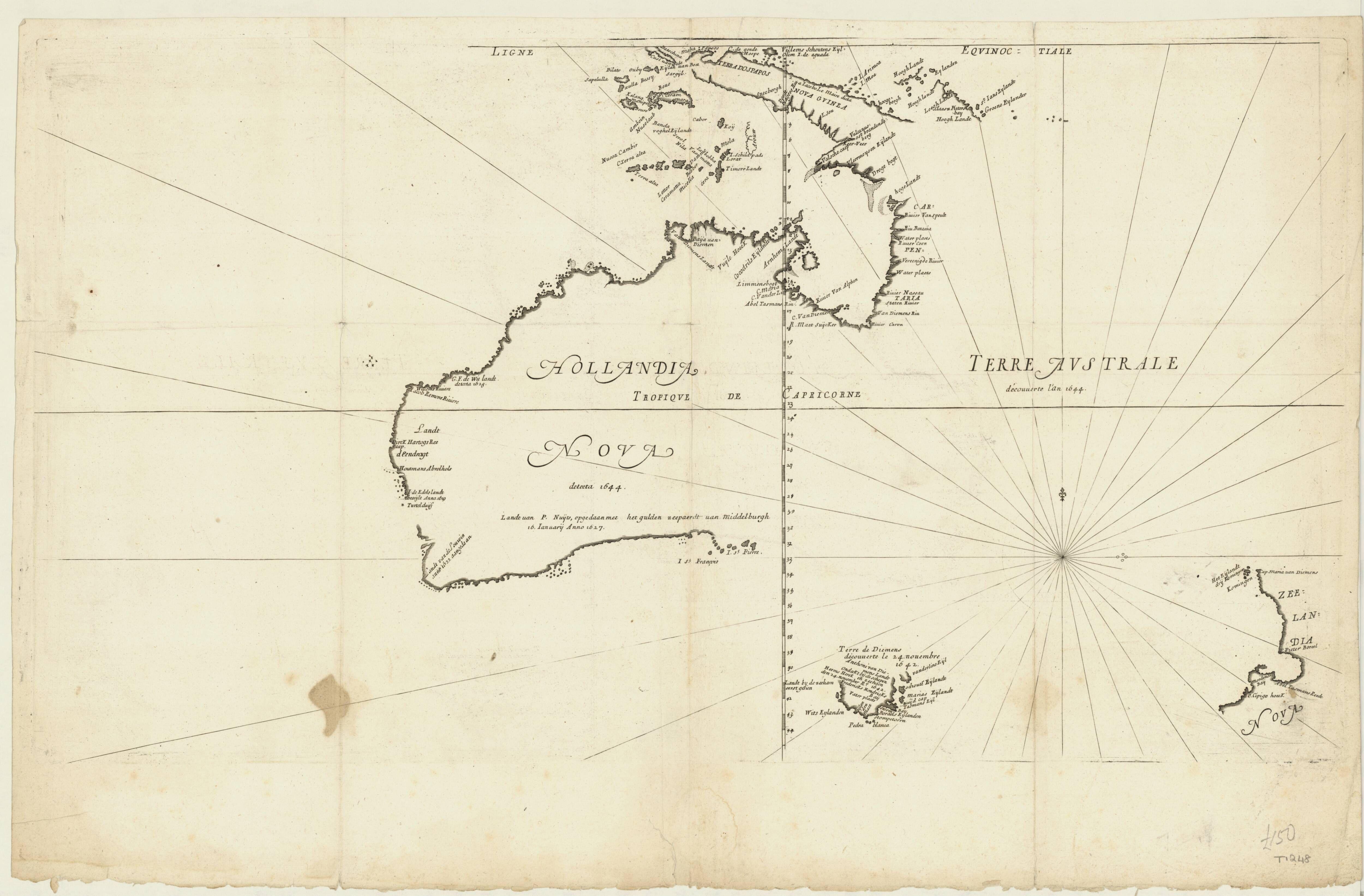 hollandia nova detecta 1644 map of australia incomplete south and east coast part