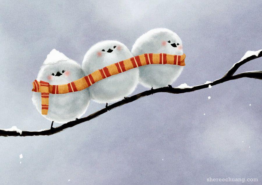Смешные рисунки зимы, открытка