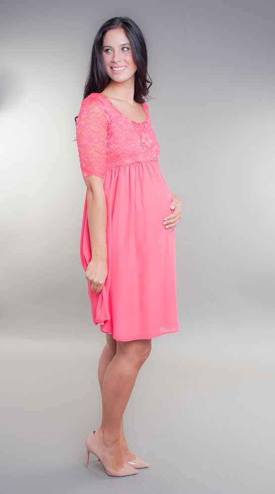 Gorgeous coral babydoll maternity dress, perfect for baby shower ...