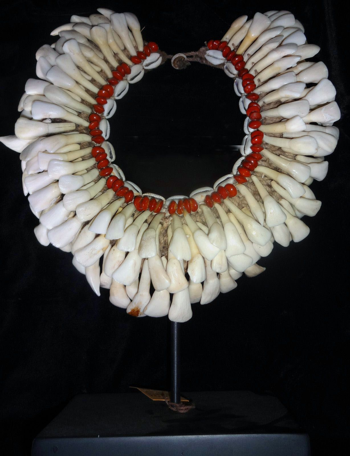 Papua New Guinea | Antique necklace; buffalo teeth, shells, seeds and fiber | Price on request