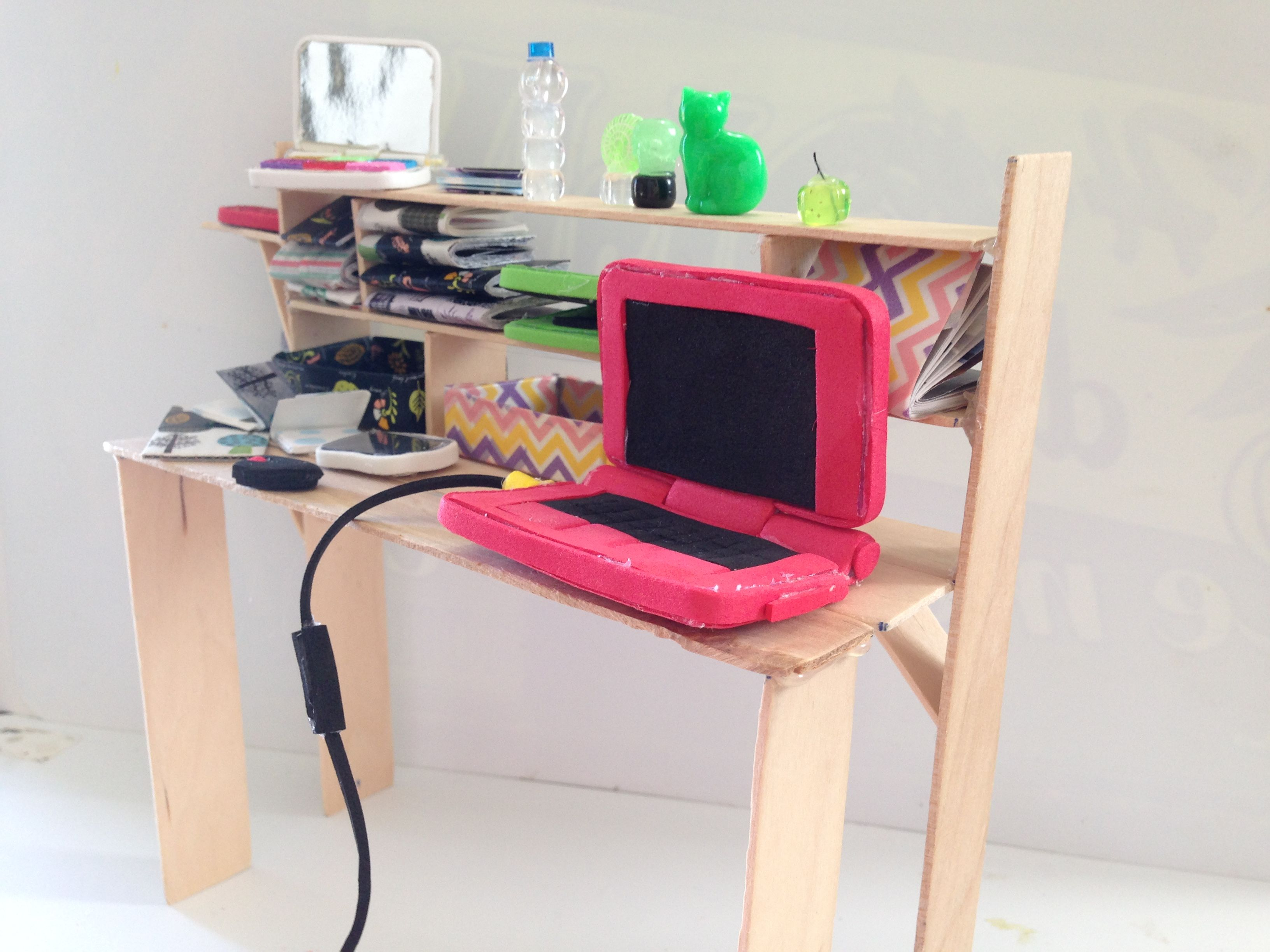 How To Make 12 Inch Doll Computer Desk Using Mostly