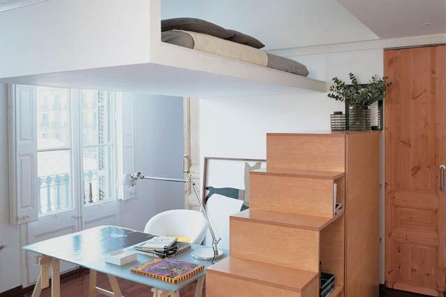 Best Studio Flat Mezzanine Bedroom Small Space Interior 400 x 300