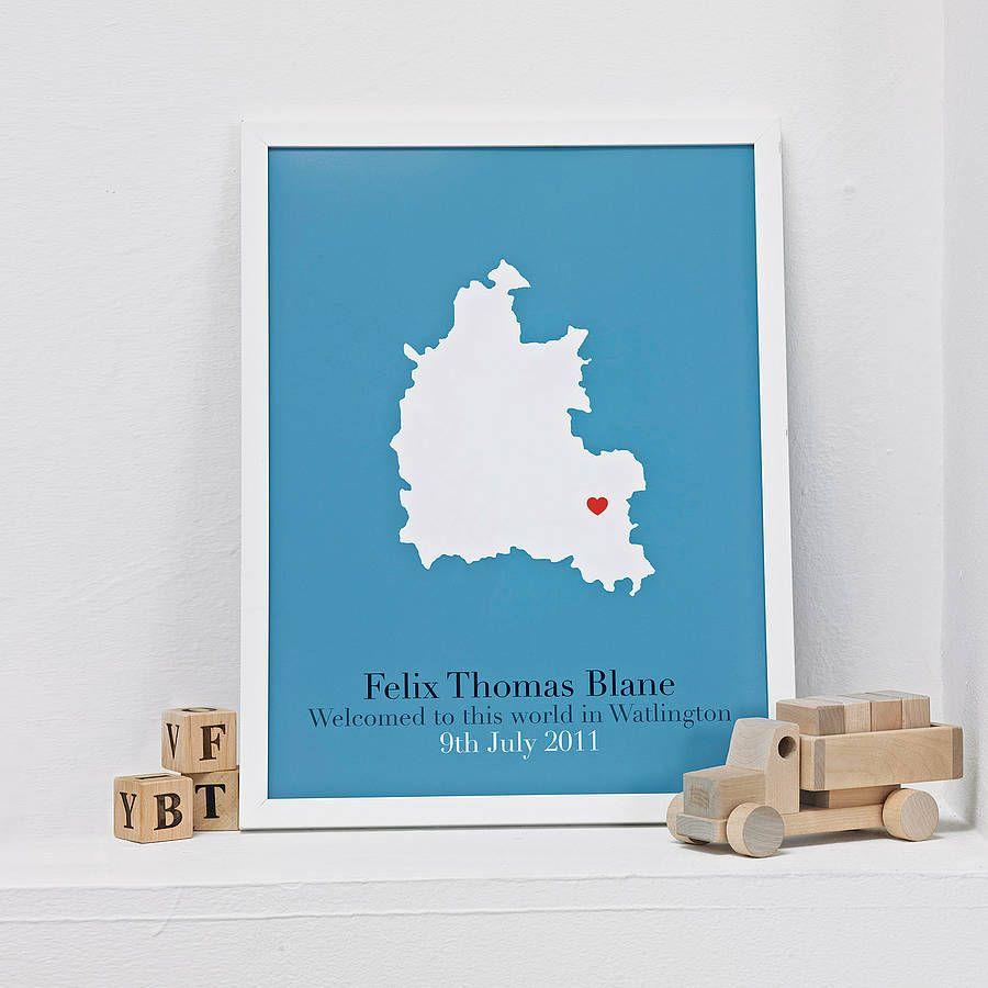 Personalised new baby map... New baby products, Baby
