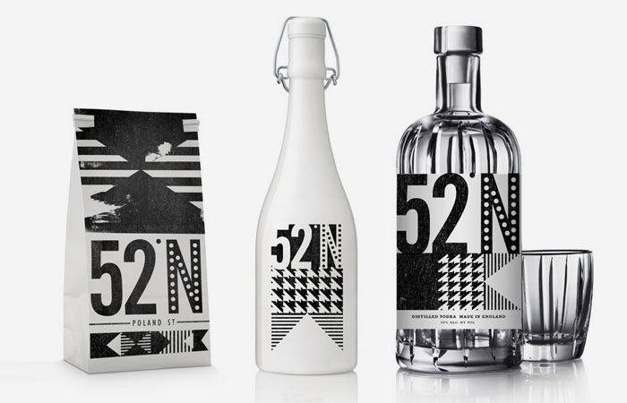 """""""I Love Dust worked with interior designers 44th Hill on the branding for 52 North, a London based bar and restaurant, creating large letterpress style murals to cover the walls as well as all printed collateral and products."""""""