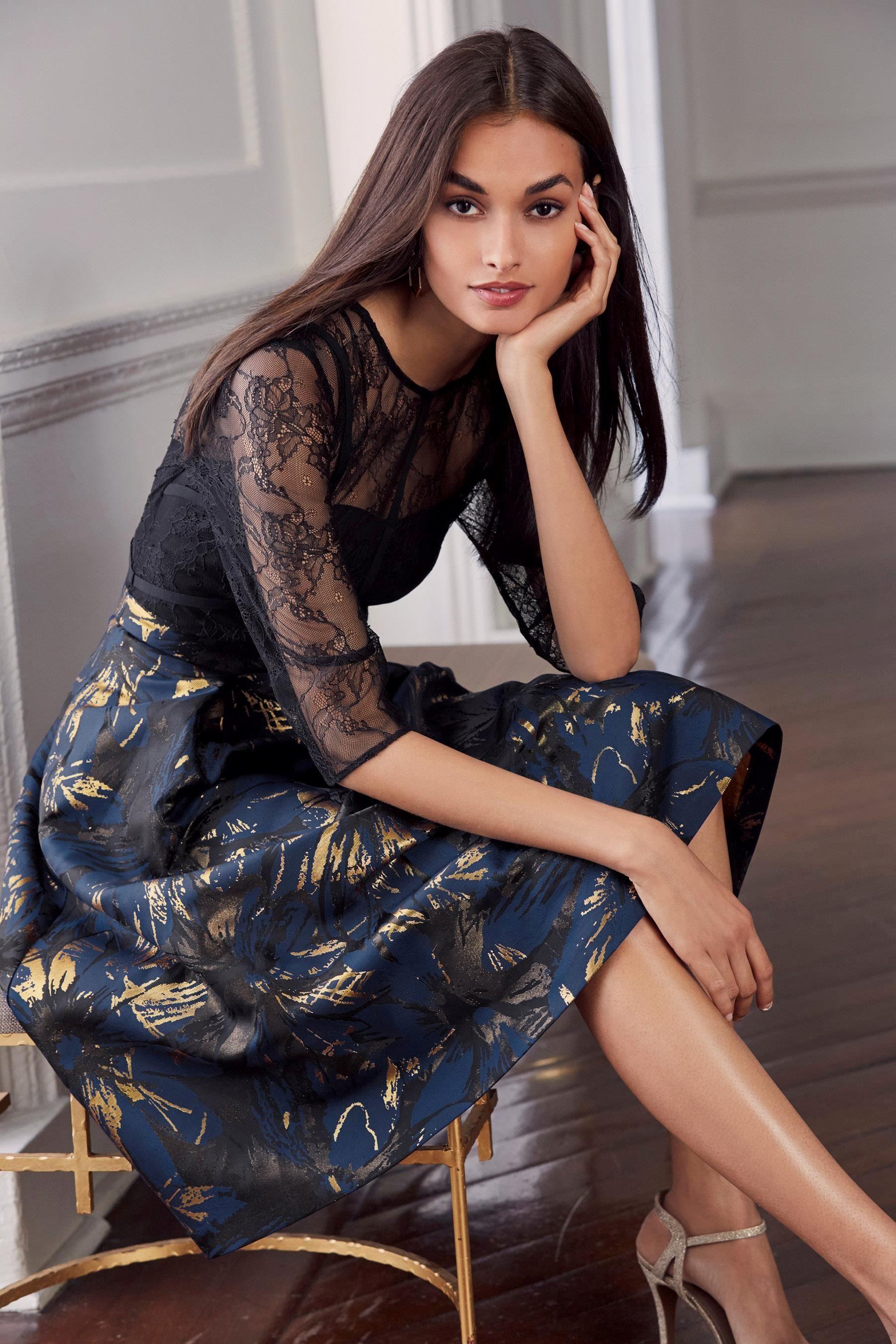 983b2376cc0 Buy Blue Black Jacquard Prom Dress from the Next UK online shop ...