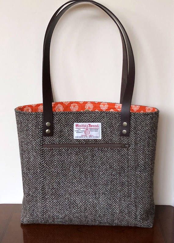 Harris Tweed Bag Brown Handbag Purse