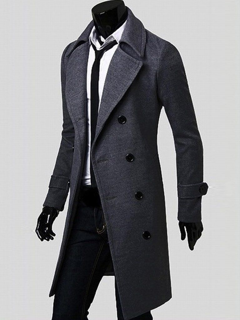 Men/'s Lapel Wool Long Trench Coat Double Breasted Overcoat Long Jackets Coats