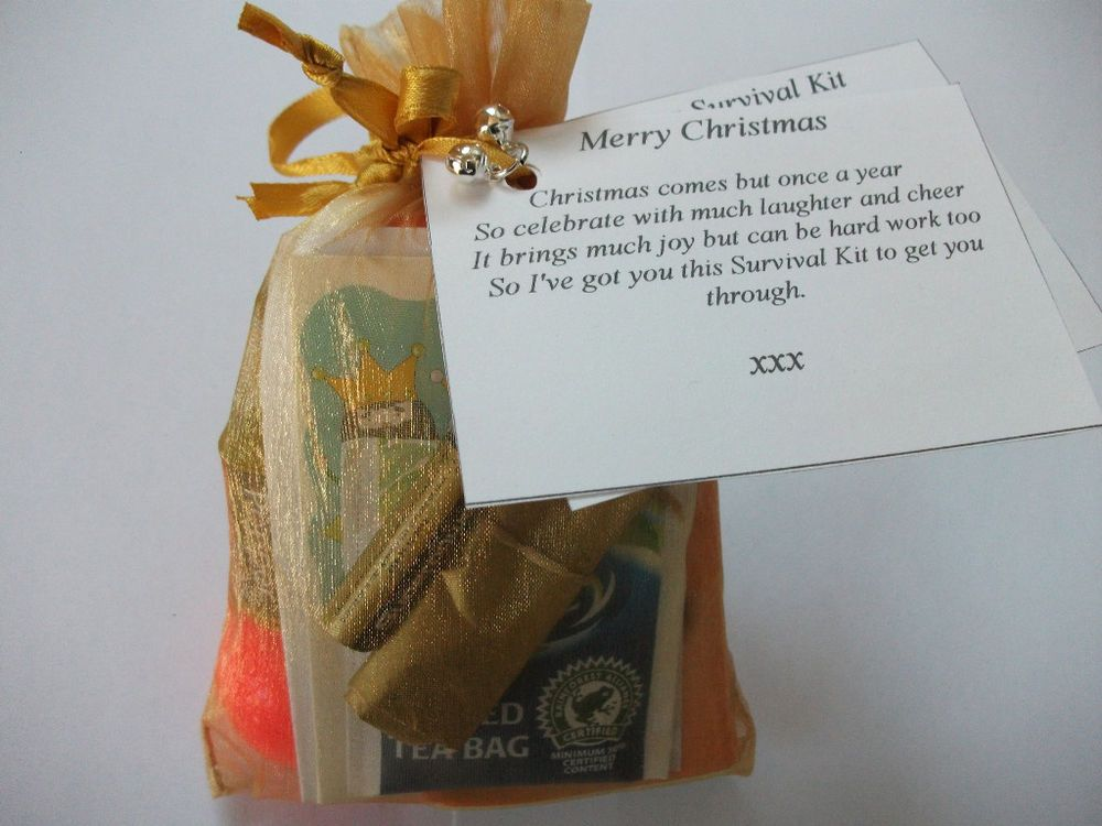 Christmas survival kit gift card poem stocking filler for Secret santa craft ideas