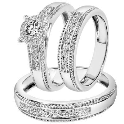 78 carat tw diamond trio matching wedding ring set 14k white gold - Trio Wedding Rings