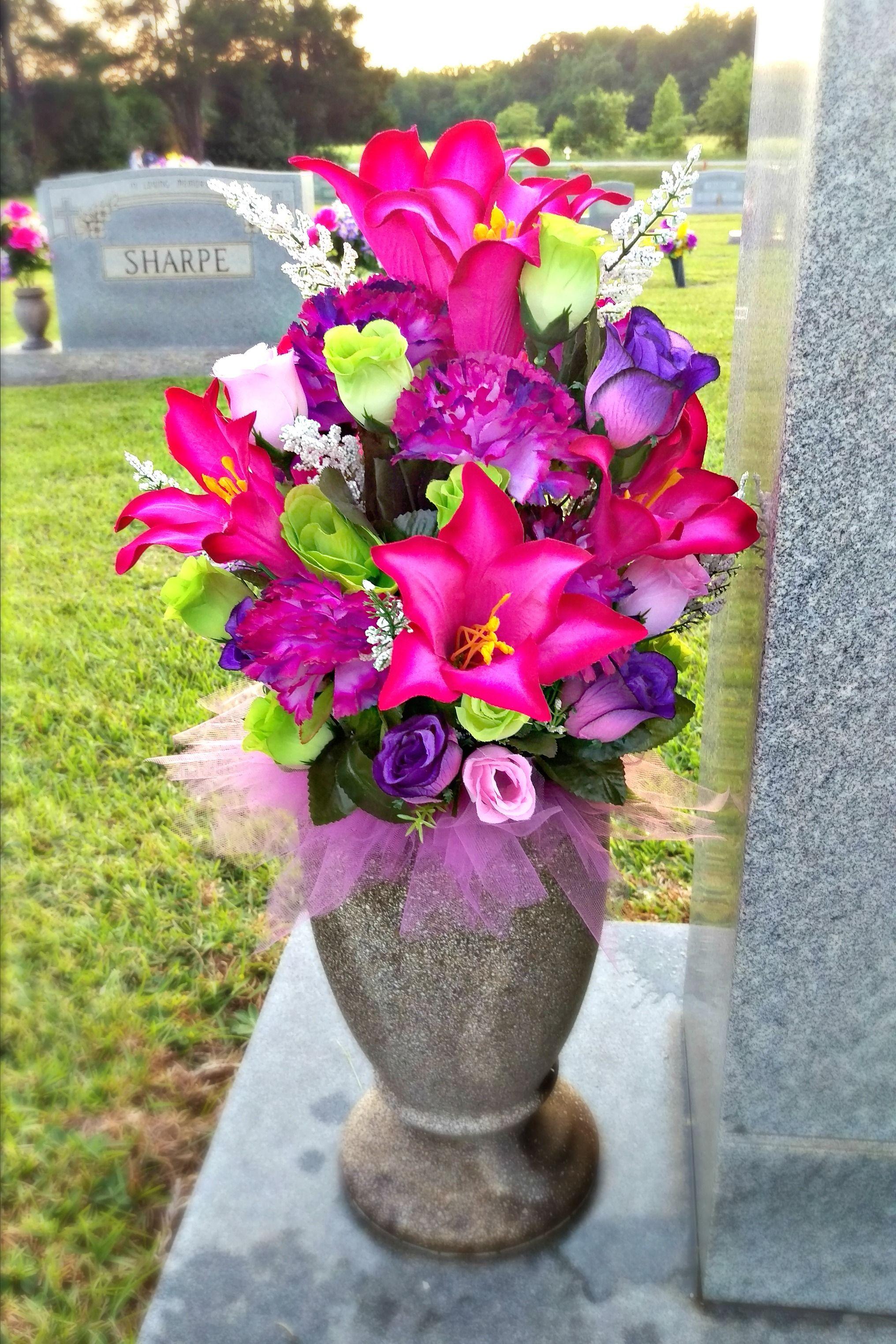 Spring Summer Cemetery Vase Arrangement Grave Flower