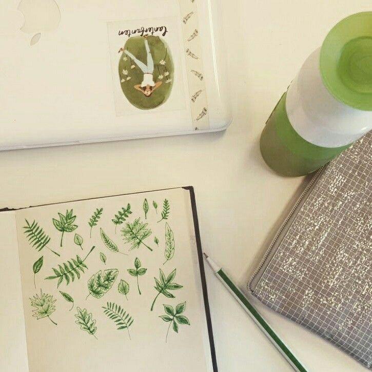 Doodling - bladeren - illustratie van vera vos