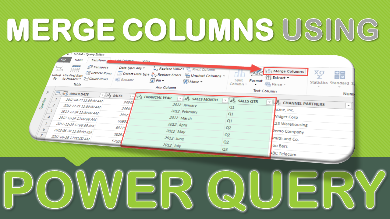 Merge Columns Using Power Query Microsoft excel, Excel