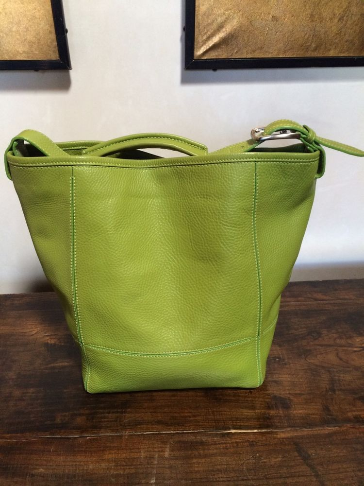 Cole Haan Large Bucket Handbag Pebble Leather Lime Green | Large ...