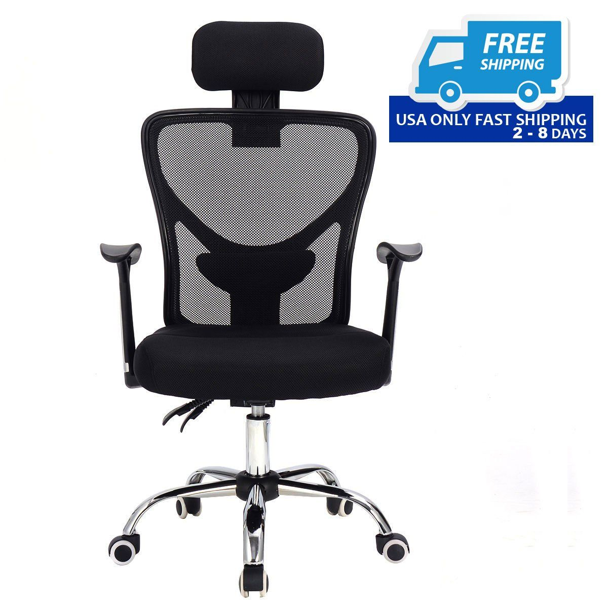 Ergonomic Mesh High Back Office Chair with Headrest (With