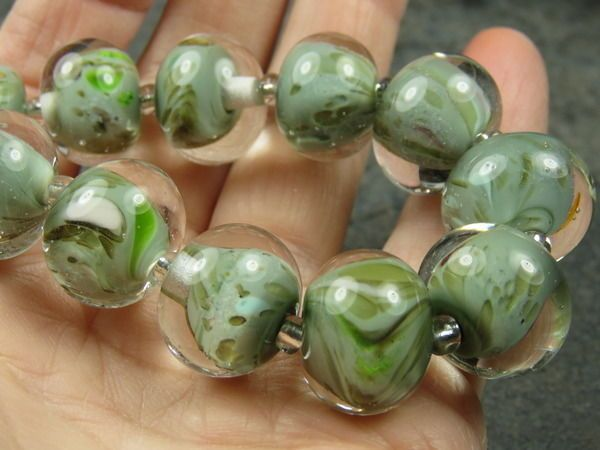 Into the Fire Lampwork Art Beads ~Elemental Sage~ Artist handmade glass beads #Lampwork