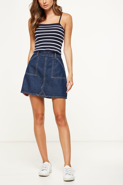 06b46c8412 Cotton On Women The Carpenter Mini Denim Skirt $29.95 | Style Moods ...