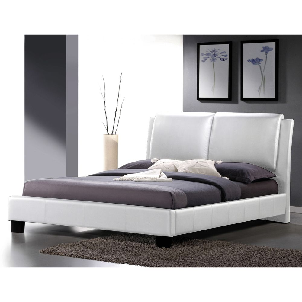 641.99] Sabrina White Modern King-size Bed with Overstuffed ...