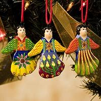 Ceramic ornaments, 'Happy Angels' (set of 6) (Guatemala) < + more ...
