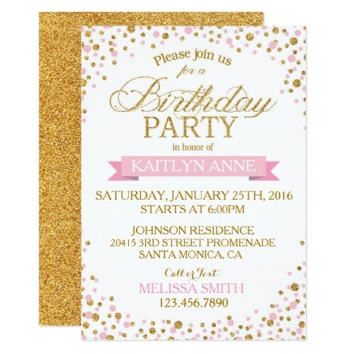 sparkle pink and gold glitter dots birthday invitation in 2018