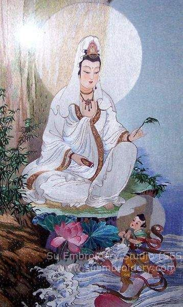 Guanyin, hand embroidered silk painting, Chinese embroidery, Suzhou embroidery, hand embroidery artwork, Su Embroidery Studio